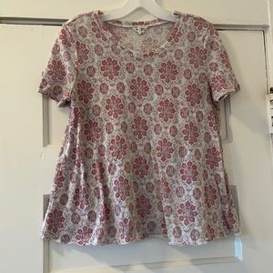 Bethany Mota Grey Red Flowey Tee
